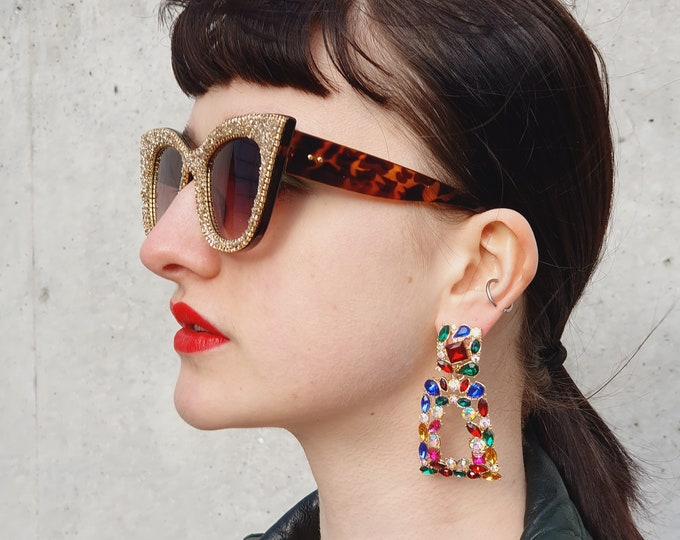 Vintage 90s Designer Style Oversized Jewelled Earrings for Pierced Ears