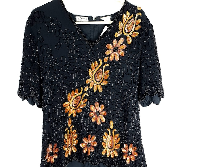 Vintage 1980s 80s Black and Goldn Sequin and Beaded Disco Top  M L