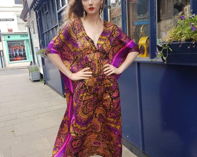 Vintage 70s Vibrant Purple Paisley Print Kaftan Maxi Dress open back lightweight polyester hippie boho one size S M L