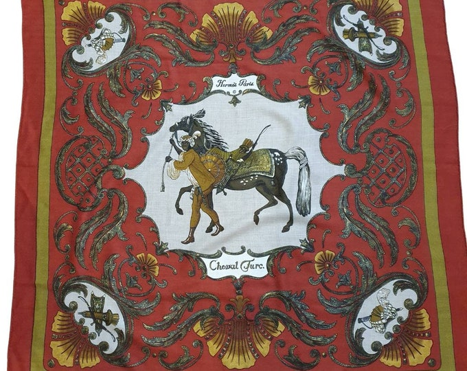 Vintage 1960s 60s RARE Hermes Cheval Turc Turkish Horse Christiane Vauzelles Cashmere Silk Scarf 36 x 36 Deep Red Rolled Edges