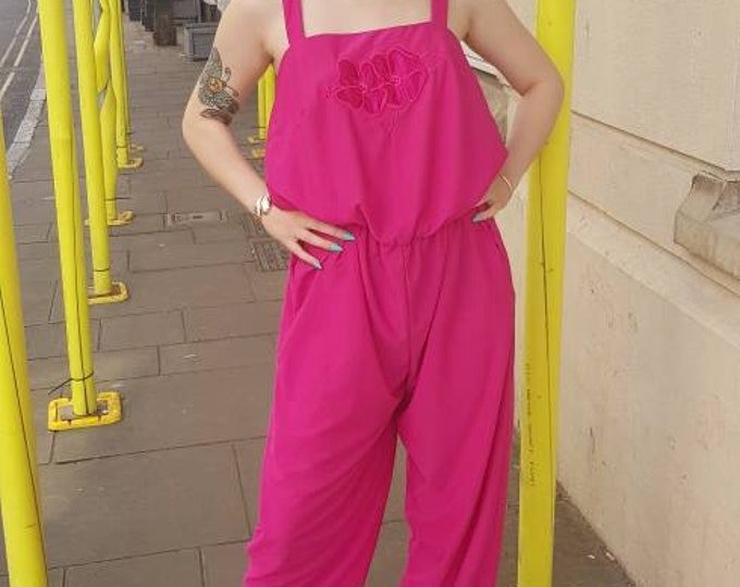 Hot Pink 80s Disco Jumpsuit All in one Trouser Suit With Applique M L