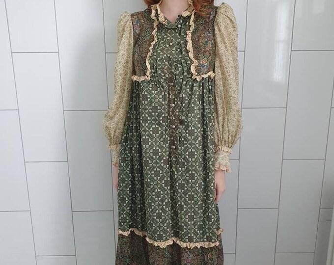 Vintage VTG  1960s 60s 70s RARE Gina Fratini Cotton and Lace Midi Tent Prairie Dress Boho Lux S M L