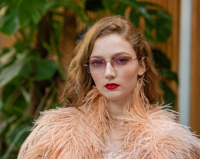 Vintage 90s 1990s GUCCI Frameless Rose Tinted Rectangle Ombre Sunglasses