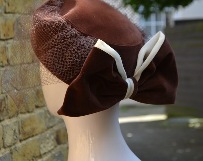 Amazing Vintage 60's Veiled Hat with Huge Bow
