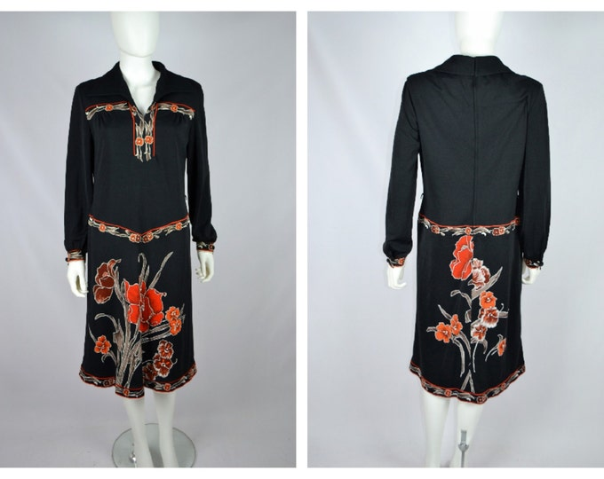 Vintage 70's Leonard of Paris Style Black Floral Midi Length Dress 1970's VTG M L 40 Bust Mod Secretary
