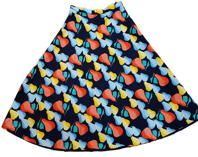 Unique Vintage 1970s Italian A line cotton Novelty Pears print knee length Skirt By Paola Davitti  Florence 70's Seventies