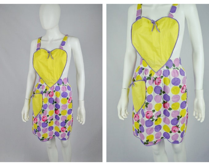 Heart Shape Vintage 1950's Conquest Apron Rose and Atomic Print Pinafore Cotton