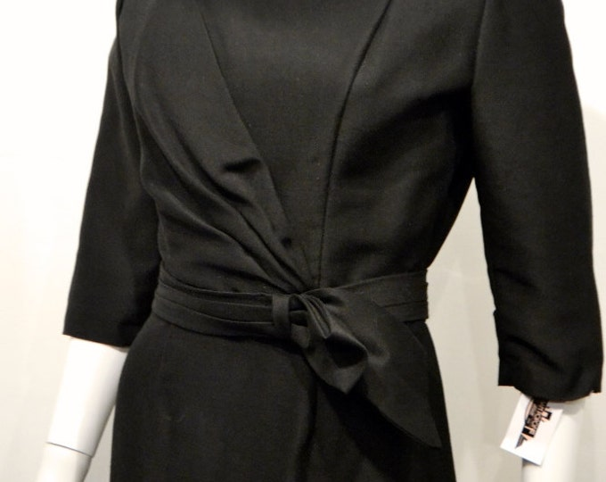 Vintage 1950's Black LBD Cocktail Wiggle Dress Low Back Statement Front 60s Mad Men Party 26 inch waist petite