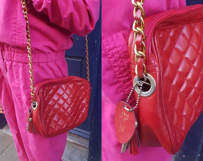 Sassy Classic  vintage 90s Red Leather Quilted Shoulder  Bag Chain Handle