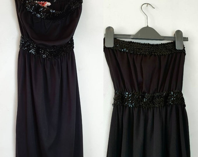 Vintage 70s 1970s  Black Strapless Disco dress by Mr Ant with sequin Boob Tube Top and Knee Length Skirt uk 8 10