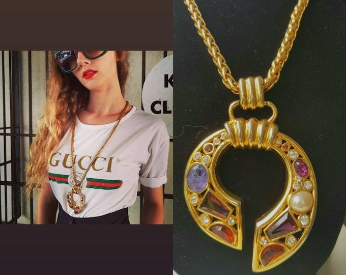Vintage 90s Necklace David Grau Semi Precious Stone Gold Tone Pendant and Long Chunky Chain 30 Inch Chain 1990s