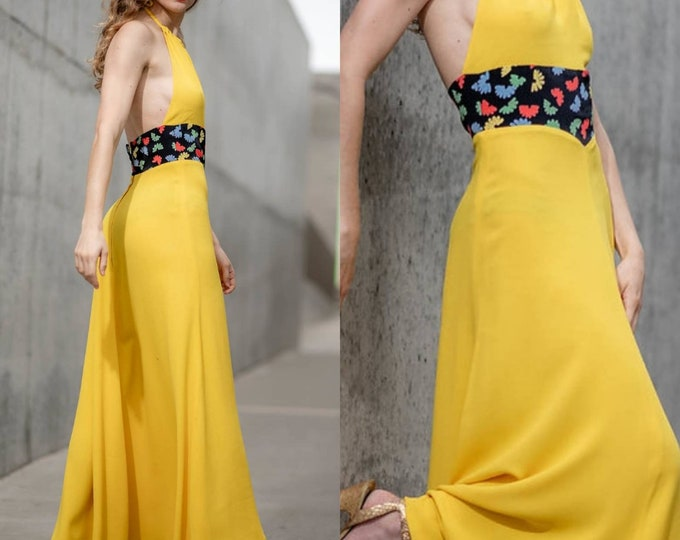 Vintage vtg 70s Ossie Clark Celia Birtwell Yellow Moss Crepe Backless Maxi Dress Halterneck XS