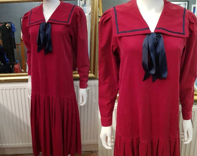 Vintage Laura Ashley 80s does 30s Deep Red Pin Cord Sailor Dress S