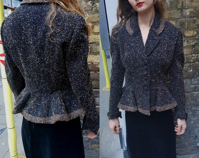 Rare vintage 40s LILLI ANN 1940s Boucle Fitted Blazer Jacket Peplum Waist  M