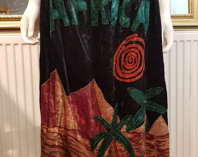Stunning Vintage  1970s 70s Phool Velvet AFRICA Black Applique and Beaded Midi Skirt L UK 16 XL