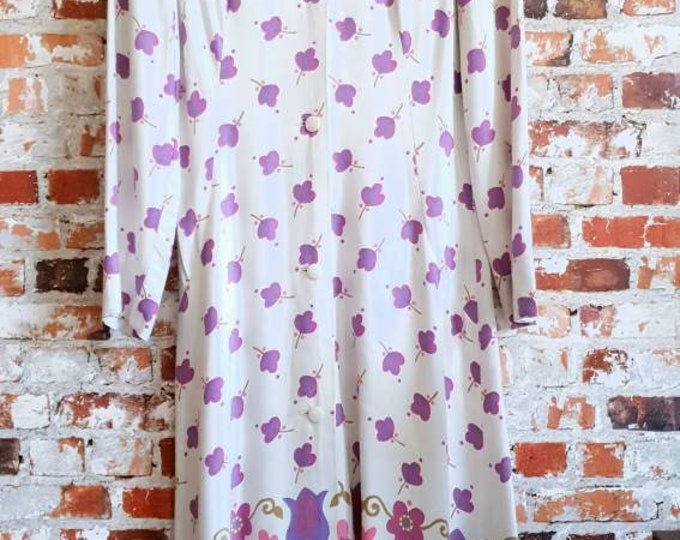Vintage 60s 70s Ossie Style Duster Spring Button Up Linen Coat S M