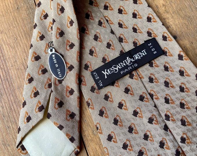 Vintage 90s YSL Yves Saint Laurent Neutral Tones Print  silk tie