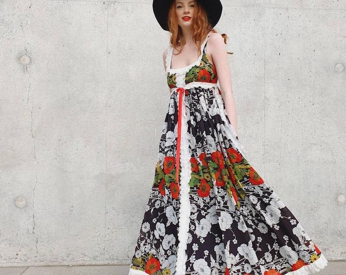 Beautiful Vintage VTG Jean Varon John Bates Floral Floaty 1970s 70s Poppy Print Prairie Milkmaid Maxi Dress  M UK 10 12