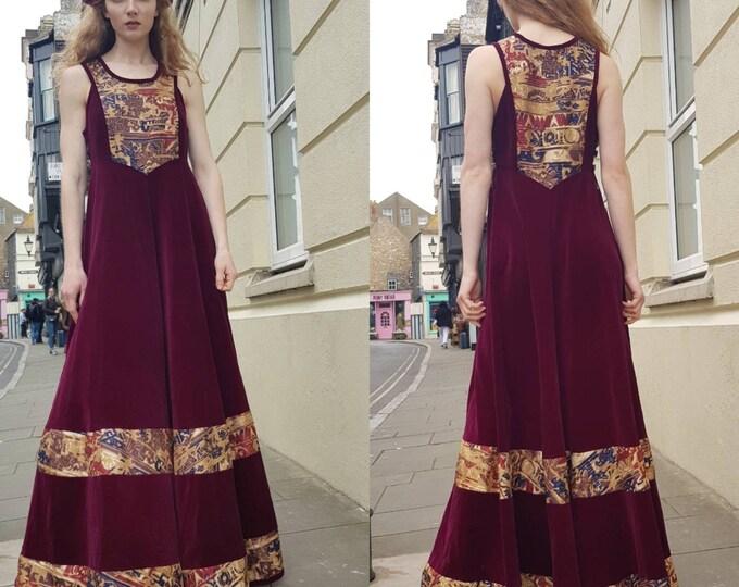 Stunning vintage 70s 1970s Anna Belinda Wine Red Velvet and Silk Maxi Pinafore Dress S M L