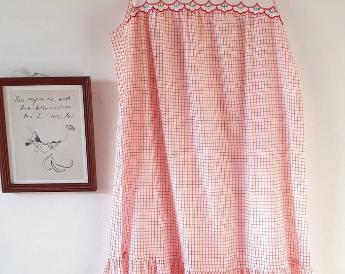 Pretty Vintage 1970s Embroidered Red and White Check Tent style Midi Length Nightdress with Frill Hem  M