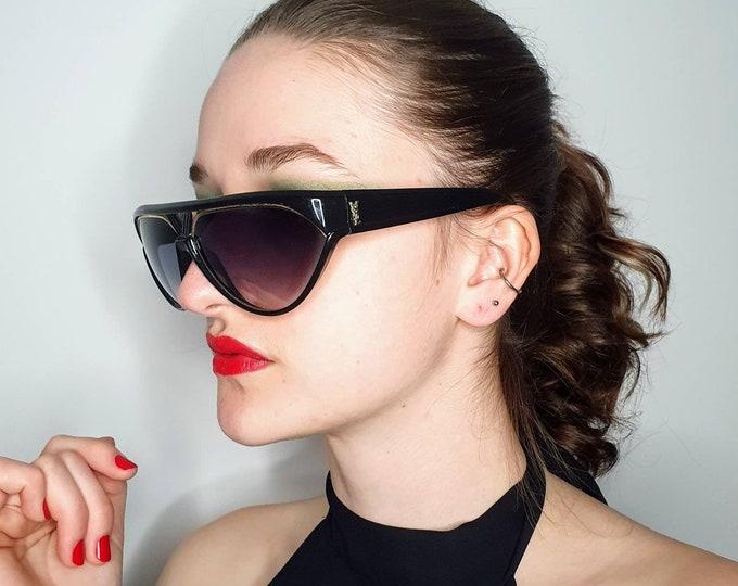 Vintage YSL Yves Saint Lauren 1980s 1990s Black and Gold Designer Sunglasses Gold Trim