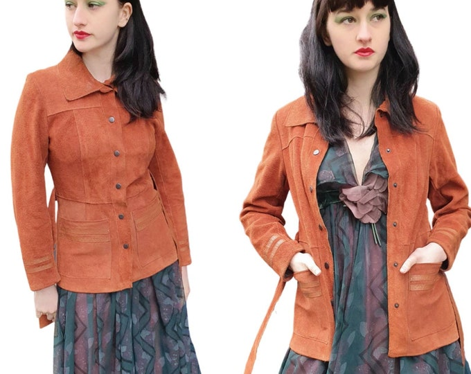 Incredible Vintage 1970s 70s Tan Rust Suede and Leather Belted Jacket Coat S Pockets Groupie