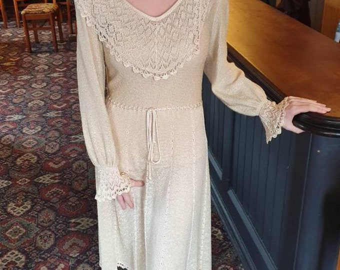 Vintage 1970s 70s Mary Ruane Slinky Cream Cotton Knit Jumper Knee Length  Dress M Shawl Collar
