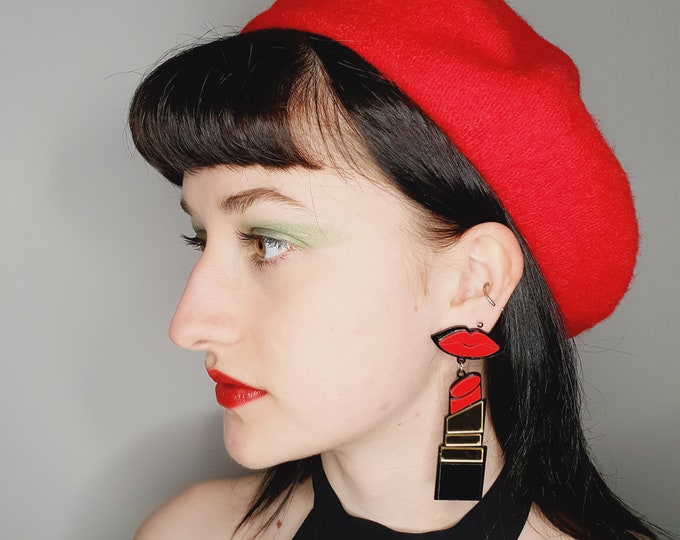 Brand New Acrylic Lipstick and Lips  Statement Earrings for Pierced ears
