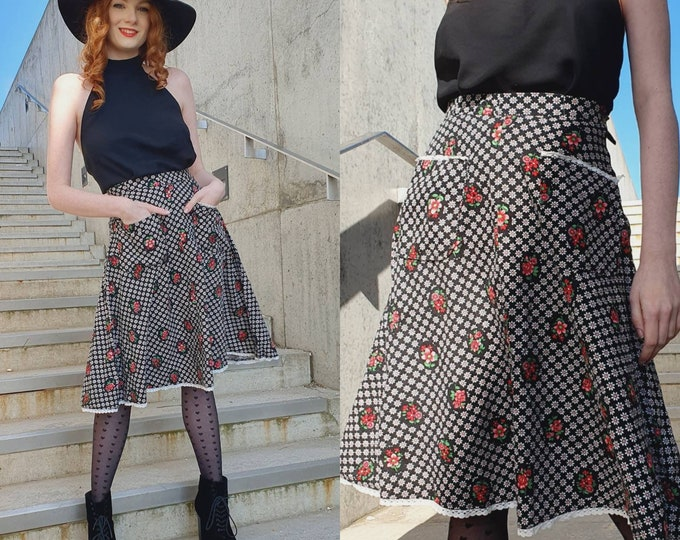 VTG 1970's 70s Pretty Cotton Pink Black Prairie Folk Cottagecore A-line Knee-length Ditsy Floral Skirt UK Size 6/8 XS Pockets