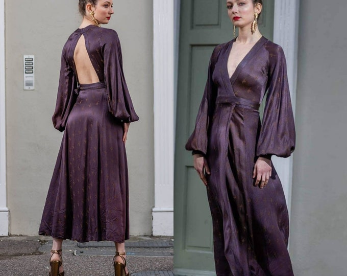 Beautiful Vintage 60s 70s Ossie Clark Grape and Gold Pattern crepe de chine  Cuddly Midi Open Back Wrap Dress S