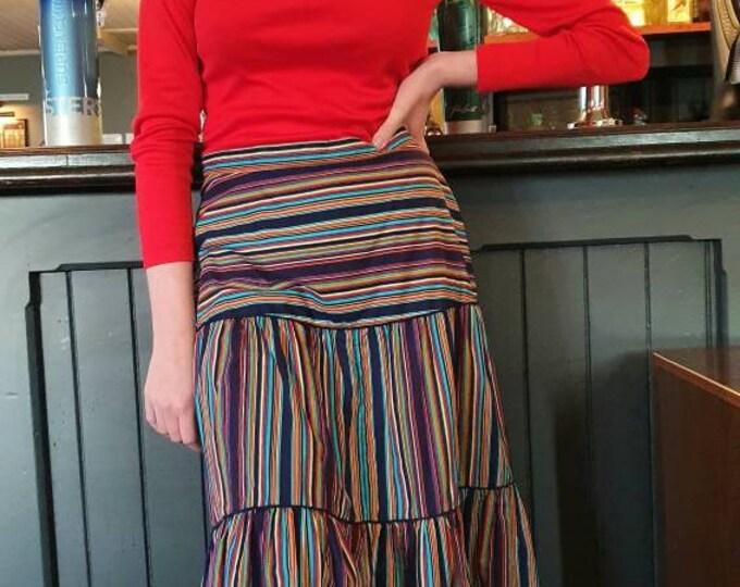 Vintage VTG  1970s 70s Vibrant Rainbow Stripe Print Crisp Cotton Folk Prairie Midi Skirt M UK 12