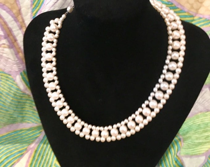 """Classy vintage 1950 Pearl necklace. Adjusting size with secure hook fastening 14""""-16"""""""