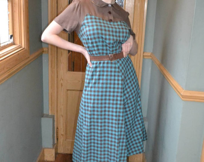 Rare Vintage Late 1930s - Early 1940s 30s 40s Teal and Coffee Cotton Plaid Dress with Peter Pan  Collar - M L