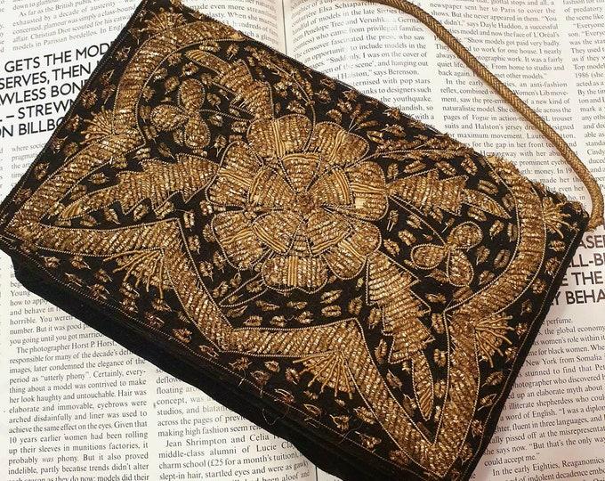 Vintage 1950s 50s Zardozi Gold Metal Thread Embroidered Evening Bag with Velvet Base  M