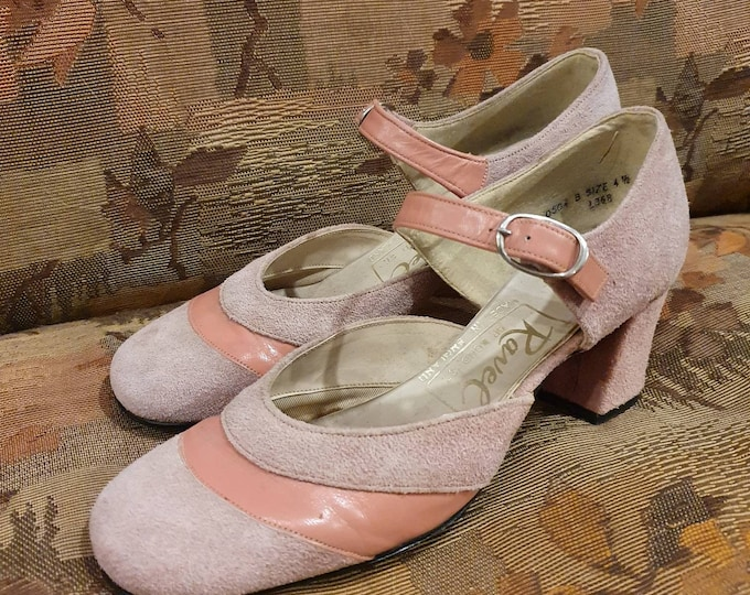 Vintage 1960s RAVEL Mod Baby Pink leather and Suede Dolly Mary Jane Block Heel Shoes Buckle Strap UK 4