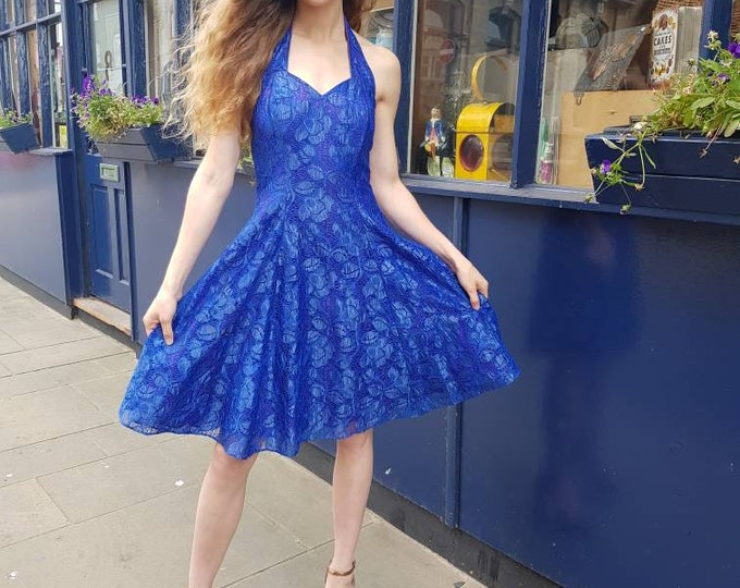Sassy Blue and Purple 80s  does 50s Halter neck Lace Full netted Skirt party dress by Lori Ann UK 8 S