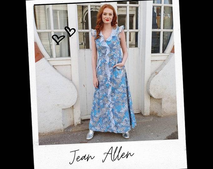 Vintage 1970s 70s Jean Allen Burron Down Baby Blue Flower Power Maxi Dress with Pockets S M