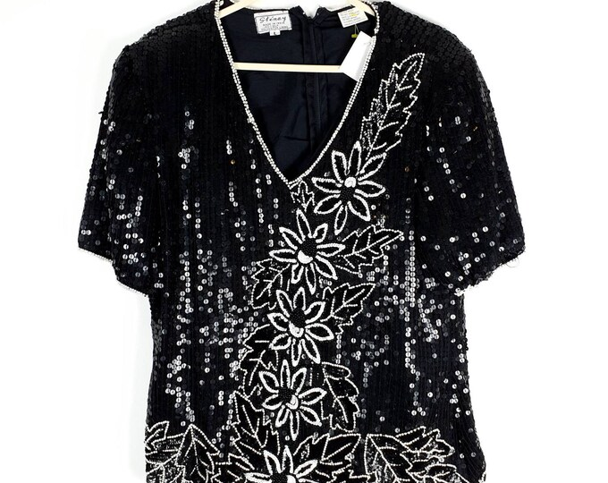Vintage 1980s 80s Black and White  Sequin and Beaded Disco Top  M L