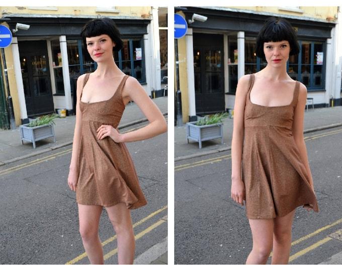 Vintage Collectable PAM HOGG Vtg Bronze Lurex Sparkle   Party Mini Dress 80s 90's Clubkid Skater Dress