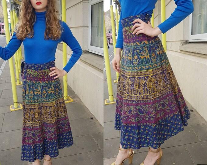 Vintage 1970s 70s Indian Block Print Cotton Wrap Midi Skirt one size fits all Ethnic Novelty Print Animal Bird