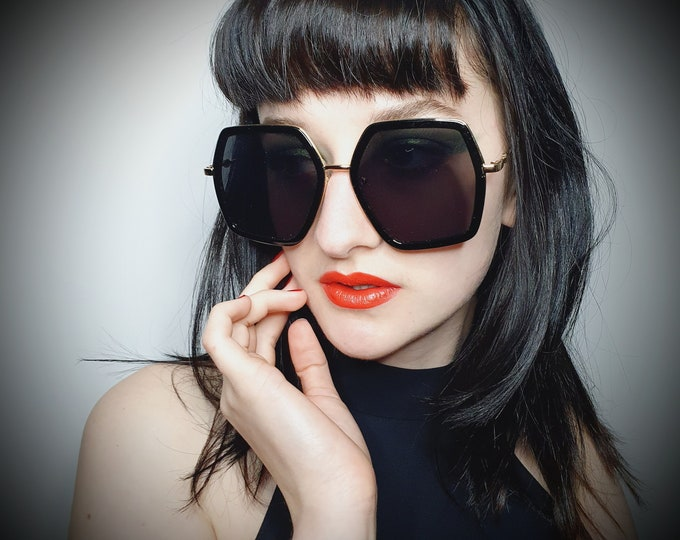 Designer Style Black and Gold over sized Sunglasses