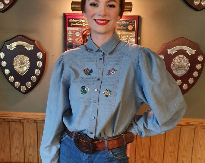 Beautiful Vintage 1980s 80s Embroidered  Austrian Cotton Denim Alpine Folk Blouse  Long Puff sleeves and Shoulders 42 Bust M L Trachten
