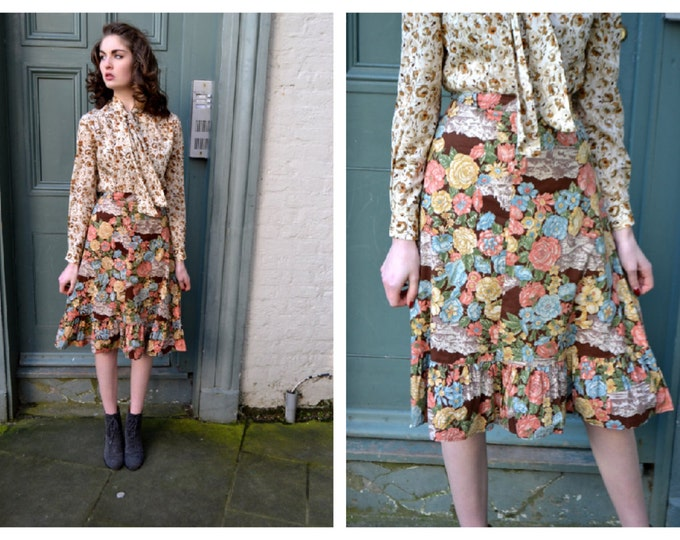 Vintage Floral and Horse Western USA  Print 70's Boho  Cotton Skirt