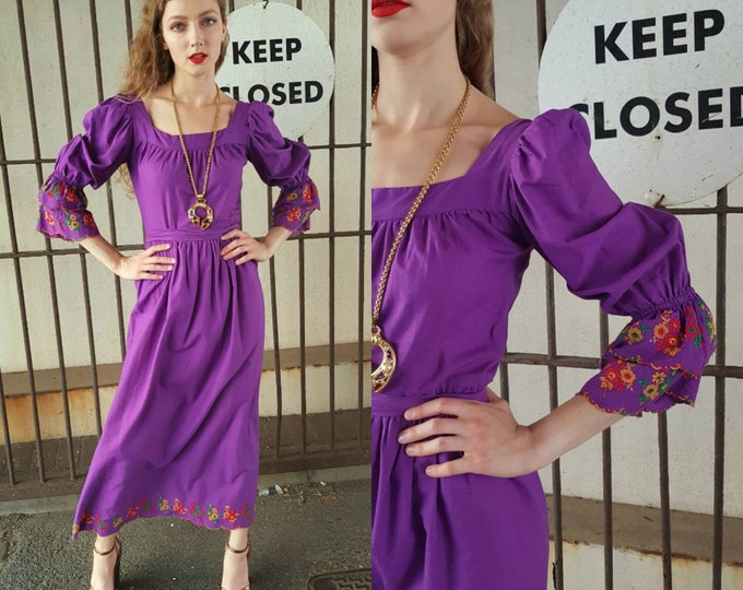 Gorgeous vintage 70s purple Cotton Maxi Dress Embroidery Detail Puff Sleeves Polly Peck Sybil Seller 28 waist