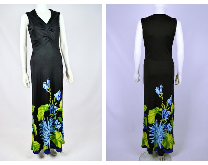 Pretty Vintage 70's Black Column Maxi Dress with Novelty Pucci - esque Floral Print Skirt 30 Waist 40 Bust uk 12