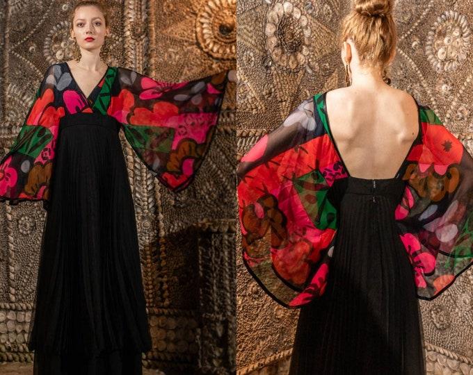 Stunning Vintage 70s Frank Usher Statement Sleeve Hand Printed Maxi Dress Backless 30 Waist