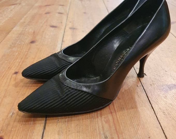 Vintage 1950s F. W. Randall & Co. Black Leather and Ribbed fabric high spike heel Kitten  court Shoes UK Size 4