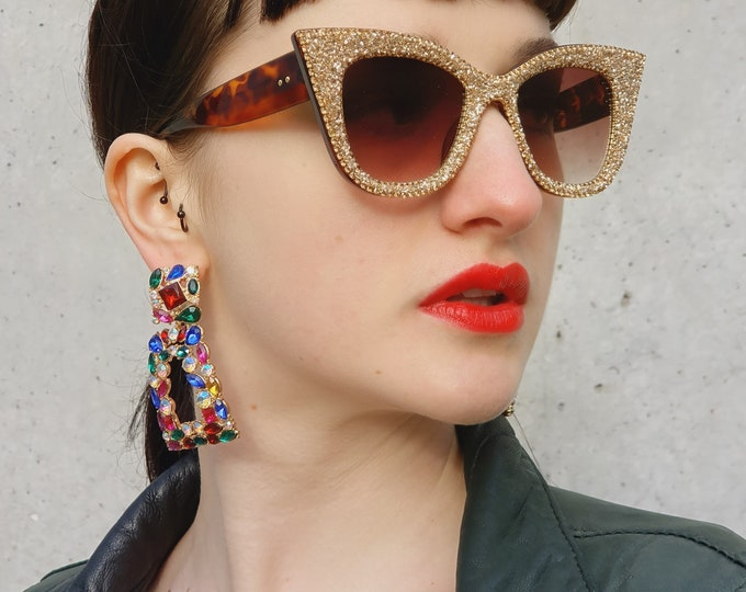 2021 Collection - Chunky Gold Glitter Cat Eye Sunglasses