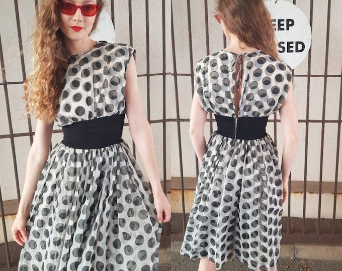 Vintage 50s Linzi Polka Dot Novelty Print Sheer Dress open back  Xs 1950s Vtg