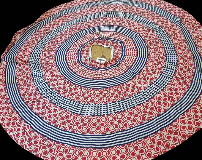 1950s 50s Indian Cotton Red and Blue Geometric Block Print Full Circle Maxi Midi Skirt M L UK 12